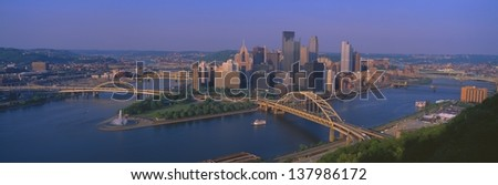 Pittsburgh seen from Mount Washington, Pennsylvania - stock photo