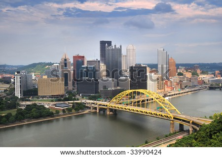 Pittsburgh skyline during late afternoon - stock photo