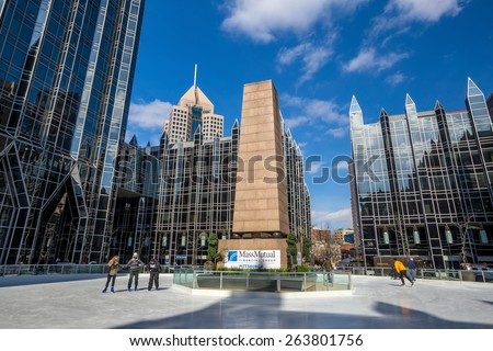 PITTSBURGH, USA - FEB 26: MassMutual Pittsburgh Ice Rink at PPG Place in downtown Pittsburgh  on February 26, 2015.
