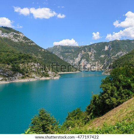 Piva water reservoir (canyon)  view from Pluzine.
