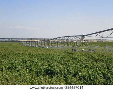 Pivot water system on a farm field, agriculture irrigation machine - stock photo