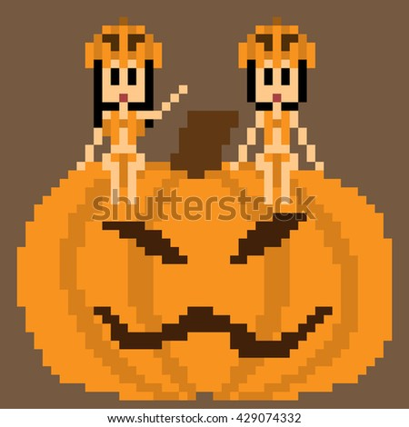 pixel art halloween pumpkin