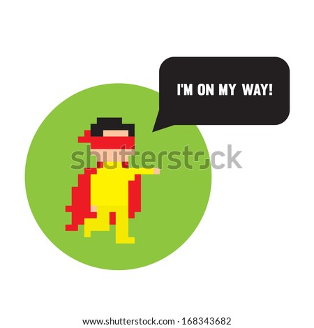 Pixel art hero ready to help - stock photo