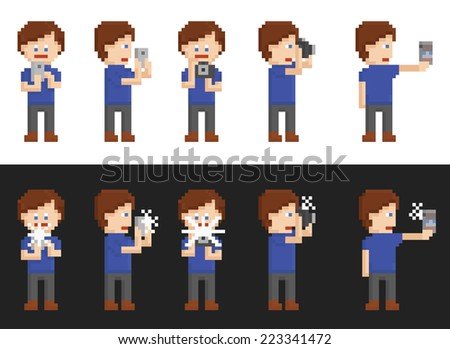 pixel art set of person making pictures on mobile phone, photo camera, day and night time, with and without flash on black and white background - stock photo
