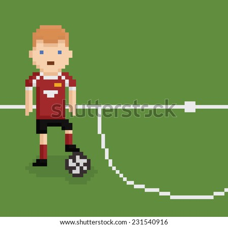 pixel art style illustration football soccer player on green field with white line holding the ball with his leg in red uniform
