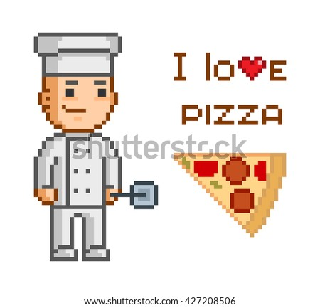 Pixel concept for pizzeria. I love pizza. Smiling cook and and slice of pizza. Delicious pizza and pizza maker. - stock photo