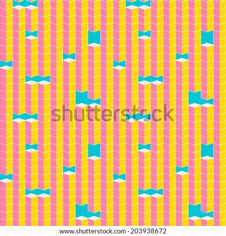 Pixel cube shapes seamless pattern - stock photo