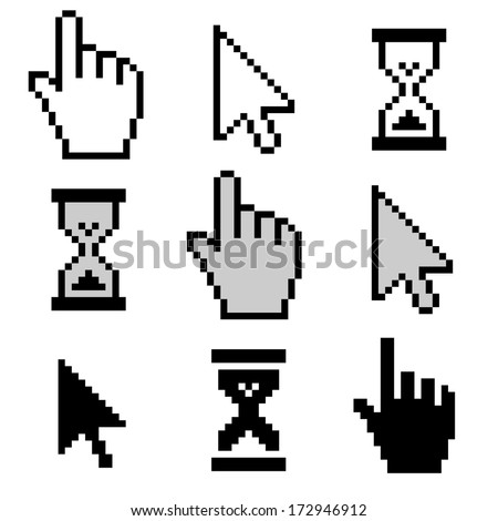 Pixel cursors icons - stock photo