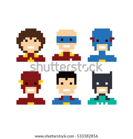 pixel people superhero avatar set