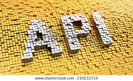 Pixelated acronym API made from cubes, mosaic pattern - stock photo