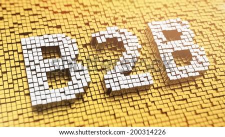 Pixelated acronym B2B made from cubes, mosaic pattern - stock photo