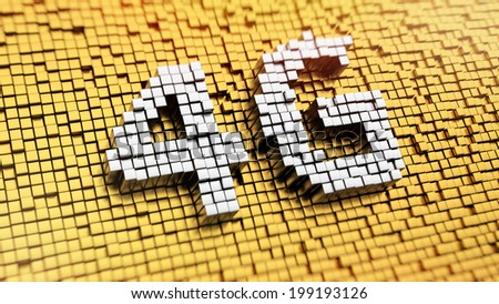 Pixelated acronym 4G made from cubes, mosaic pattern - stock photo