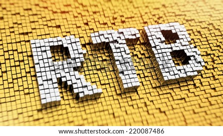 Pixelated acronym RTB made from cubes, mosaic pattern - stock photo