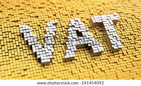 Pixelated acronym 'VAT' made from cubes, mosaic pattern. Taxation concept - stock photo