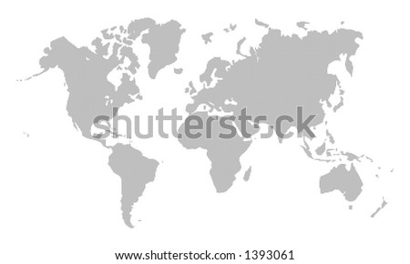 Pixelated black world map on white - stock photo