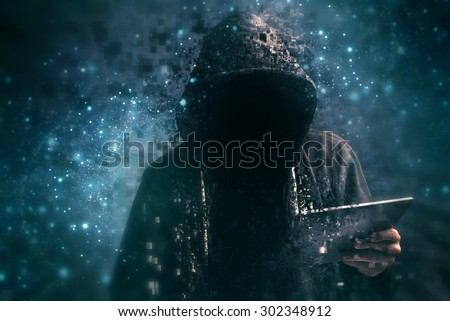 Pixelated unrecognizable faceless hooded cyber criminal man using digital tablet in deep web cyberspace - stock photo