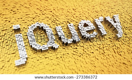 Pixelated word 'jQuery' made from cubes, mosaic pattern - stock photo