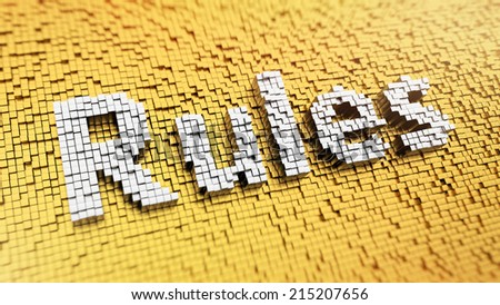 Pixelated word Rules made from cubes, mosaic pattern - stock photo