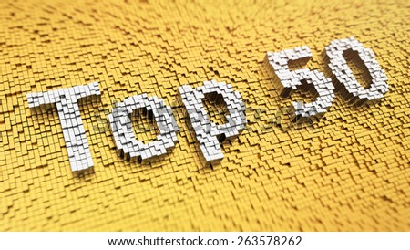 Pixelated word 'Top 50' made from cubes, mosaic pattern - stock photo