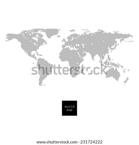 Pixelated world map isolated on white - stock photo