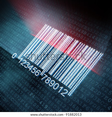 Pixeled barcode illustration, 3d render - stock photo