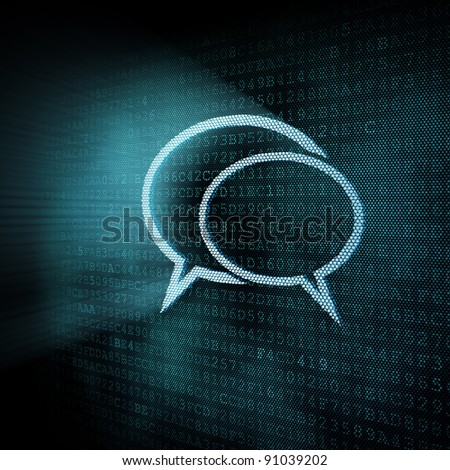 Pixeled speech bubble illustration, 3d render - stock photo