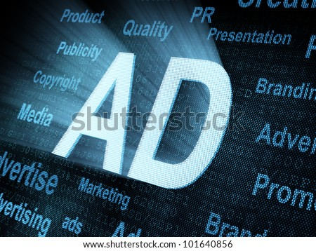 Pixeled word AD on digital screen 3d render - stock photo