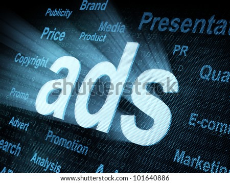 Pixeled word ads on digital screen 3d render - stock photo