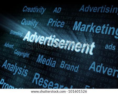Pixeled word Advertisement on digital screen 3d render - stock photo
