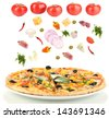 Pizza and ingredients  isolated on white - stock photo