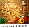 pizza and vegetables - stock photo
