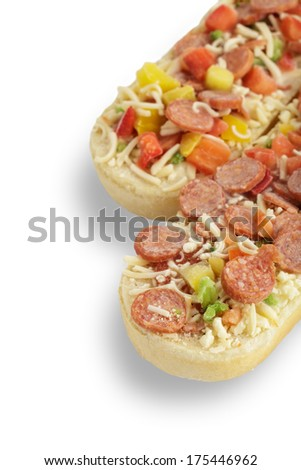 Pizza Baguette with salami on white background - stock photo