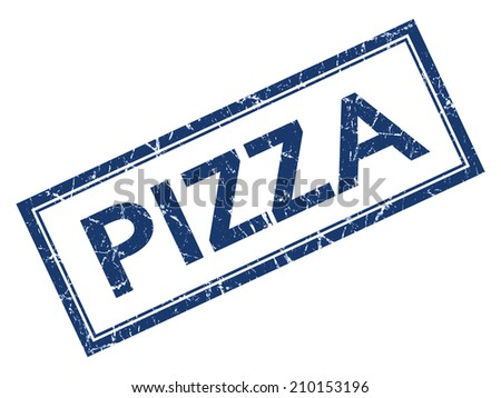 Pizza blue square grungy stamp isolated on white background - stock photo