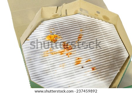 Pizza box, after eat isolated on white - stock photo