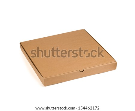 Pizza box isolated on a white background. Objects with Clipping Paths - stock photo