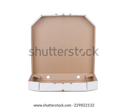 Pizza box isolated on white - stock photo