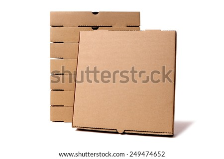 Pizza box : stack, brown, isolated on white.  Front view. - stock photo