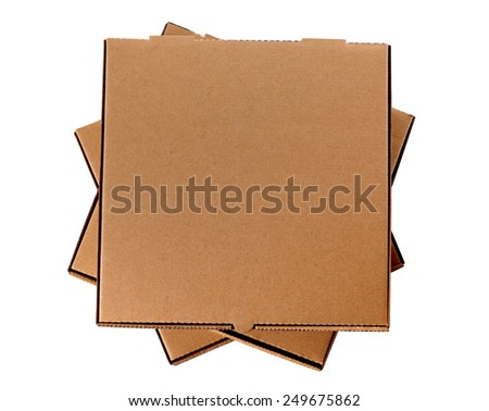 Pizza box : untidy stack, brown, isolated on white.  Top view. - stock photo