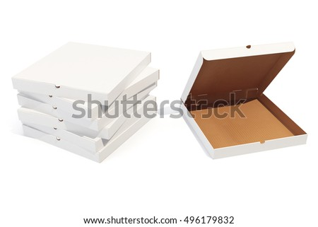 Pizza boxes isolted on white with shadow. 3d rendering