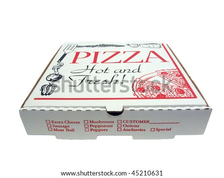 pizza carryout box isolated via clipping path on a white background - stock photo