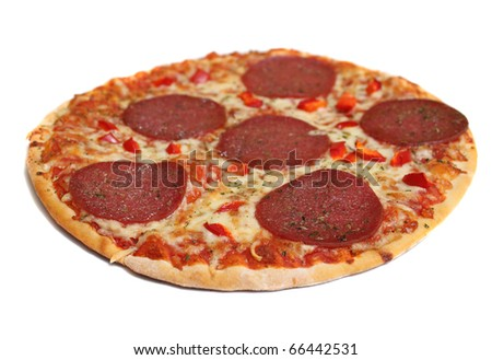 pizza cheese, salami, red pepper tomato paste - stock photo