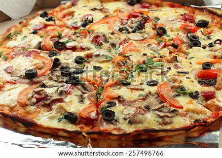 pizza closeup - stock photo