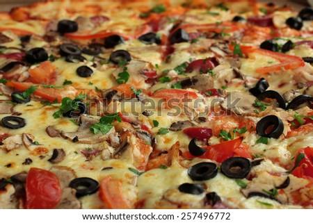 pizza closeup - stock photo