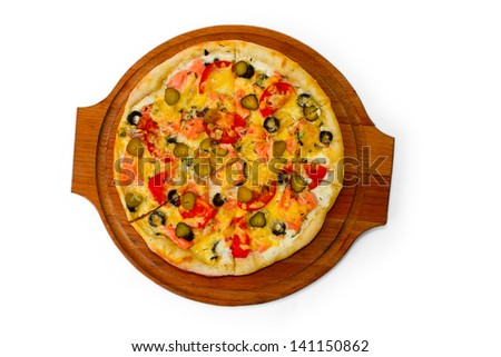 pizza cucumber isolated white food cheese italian tomato meal fast dinner baked crust