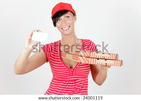 Pizza delivering woman holding business card - stock photo