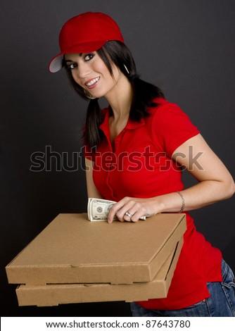 Hot pizza delivery girl gets huge sausage