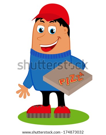 Pizza delivery with the box pizza. Raster version  - stock photo