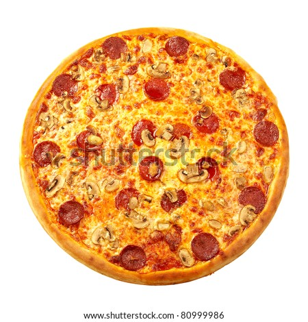 Pizza from the top - pepperoni - stock photo