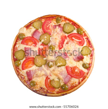 pizza ham and vegetable .isolated on white background.clipping Path