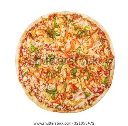 Pizza Hawaiian isolated on white background - stock photo